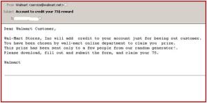 Walmart Phishing Scam email