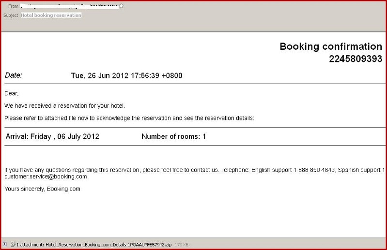 Scam emails booking confirmation from the for The hotel reservation