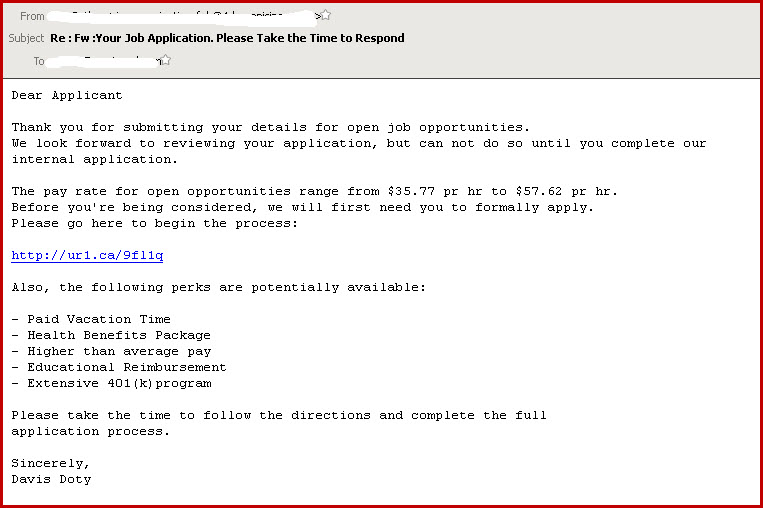 Online job application scam omniquad security blog for Example of email cover letter to job application