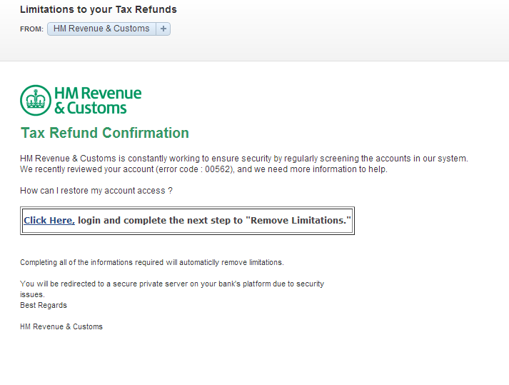 Email phishing scam fraudulent email from hm revenue customs limitations to your tax - Hm revenue office address ...