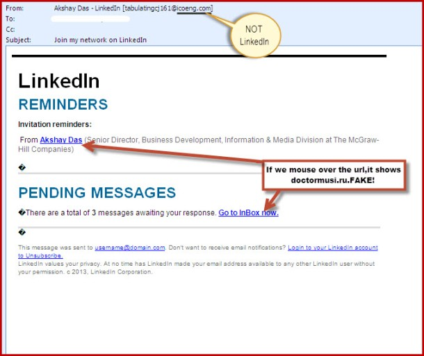 Fake linkedin email  March 2013