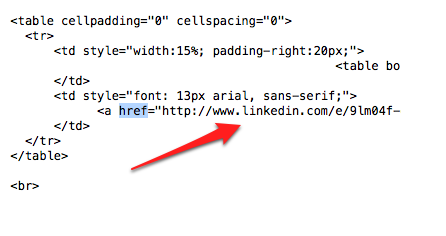 Real LinkedIn email source code