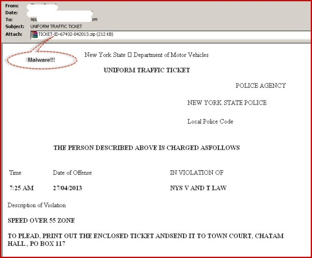 Fake speeding ticket email from New York State Department