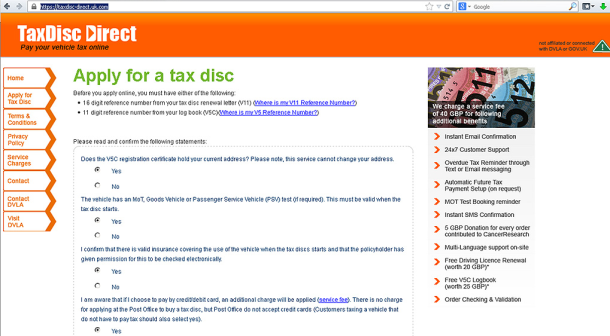 Copy-cat site for Tax Disc Renewal