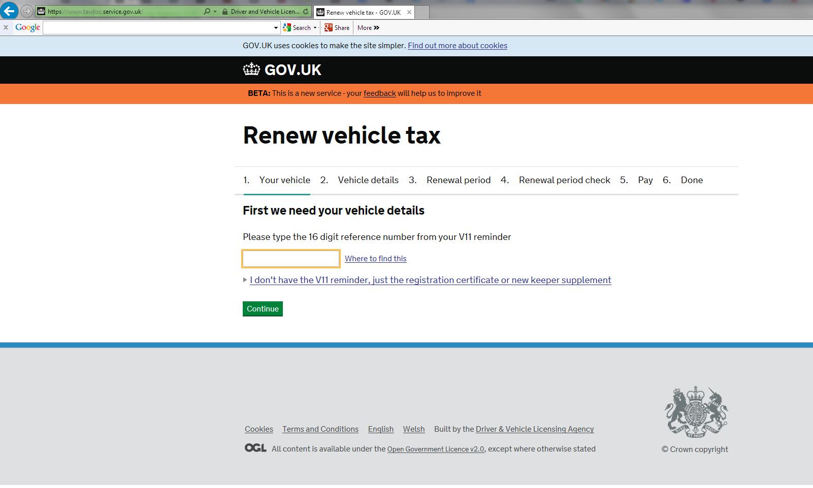 tax disc renewals online.