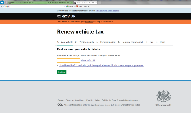The Correct Website for renewing your tax disc
